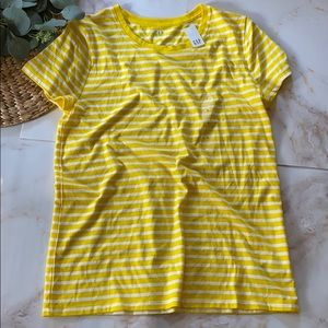 NWT - Gap Factory yellow/white striped tee-size L
